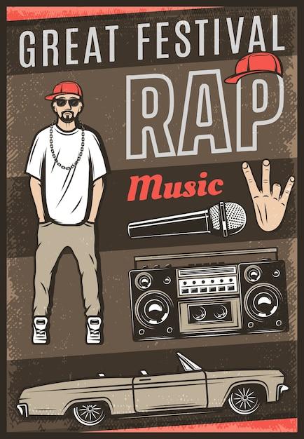 Cartel de festival de música rap de color vintage con gesto de mano de micrófono de boombox de coche de rapero de inscripción vector gratuito