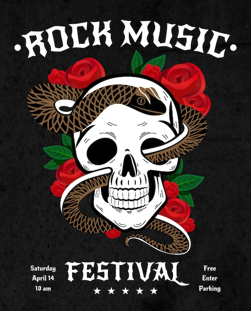 Cartel del festival de música rock vector gratuito
