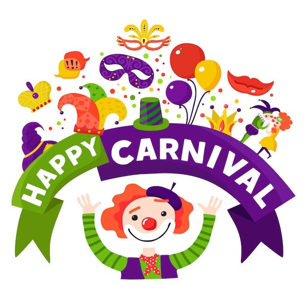 Cartel festivo de la composición de la celebración del carnaval vector gratuito