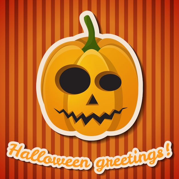 Cartel festivo de la fiesta de halloween con inscripción en papel y calabaza malvada y aterradora sobre fondo de rayas naranja vector gratuito