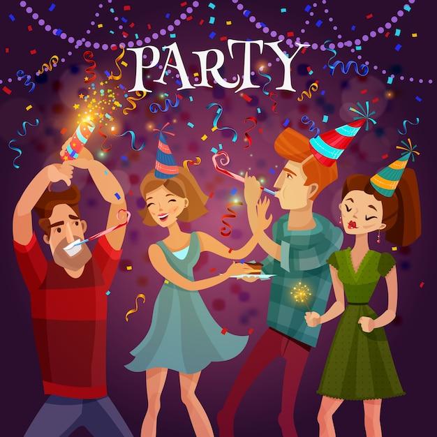 Cartel festivo del fondo de la celebración de la fiesta de cumpleaños vector gratuito