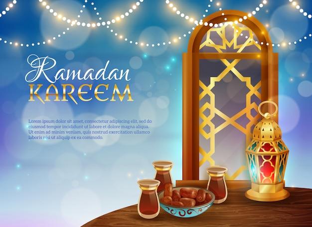 Cartel festivo tradicional de la comida de ramadan kareem vector gratuito