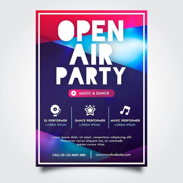 Cartel fiesta al aire libre vector gratuito