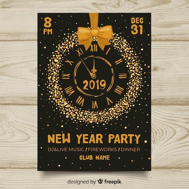 Cartel de fiesta de año nuevo 2019 vector gratuito