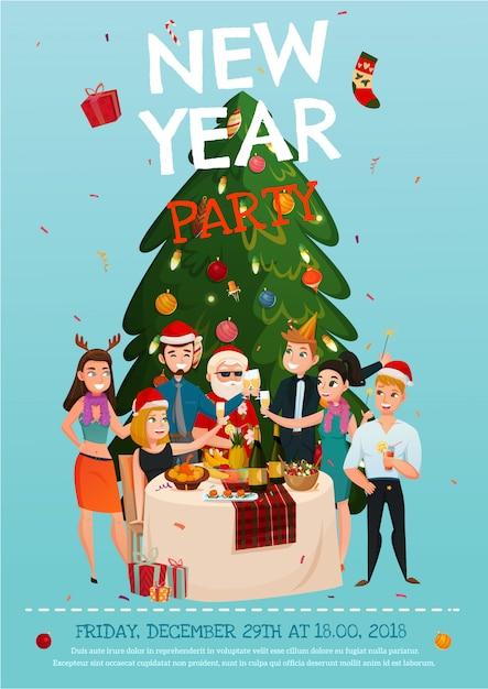 Cartel de fiesta de año nuevo vector gratuito
