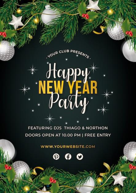 Cartel fiesta de año nuevo vector gratuito