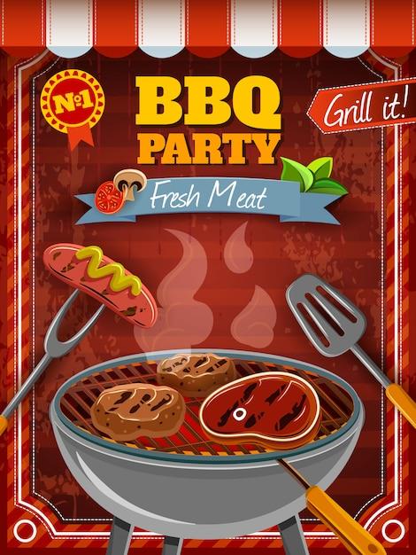 Cartel de fiesta de barbacoa vector gratuito
