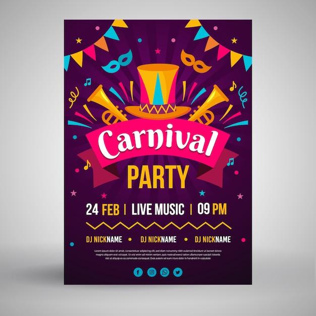 Cartel de fiesta de carnaval en diseño plano vector gratuito