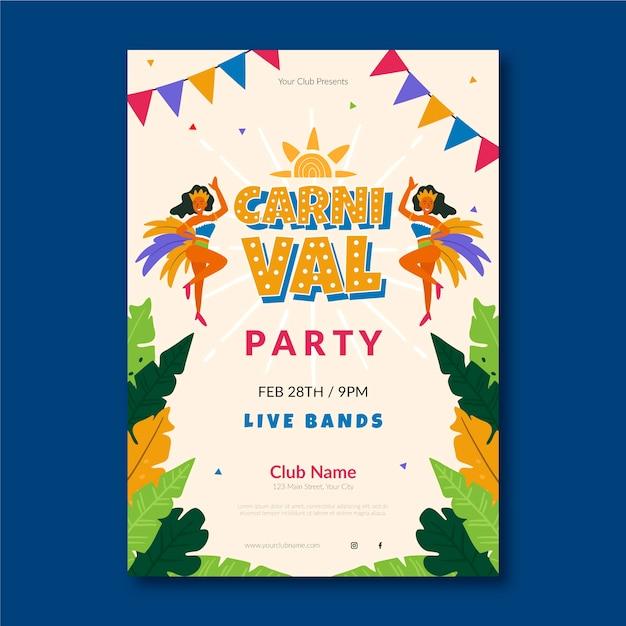 Cartel de fiesta de carnaval plano vector gratuito
