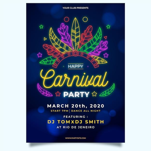 Cartel de fiesta de carnaval de plumas de neón vector gratuito