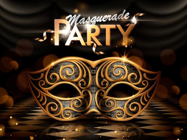 Cartel de fiesta de disfraces, atractivo antifaz con marco dorado sobre fondo oscuro bokeh en la ilustración Vector Premium