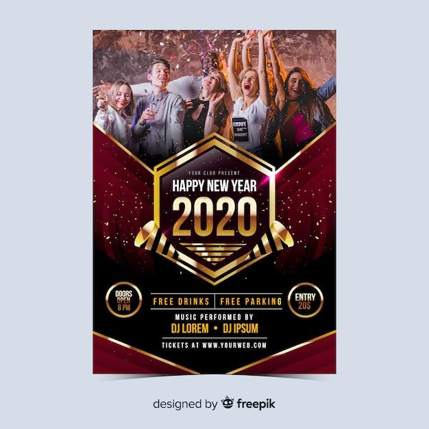 Cartel de fiesta gente año nuevo 2020 vector gratuito