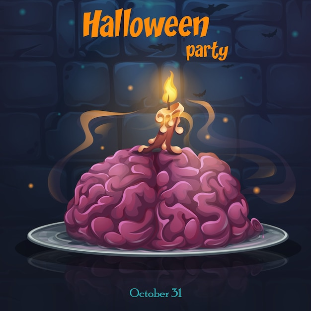 Cartel de fiesta de halloween con cerebro en el plato Vector Premium