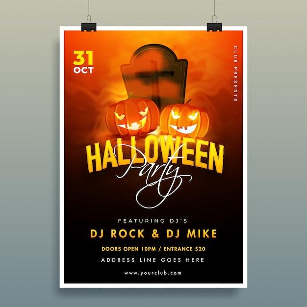 Cartel de la fiesta de halloween con linternas, detalles de cementerio y eventos en marrón y negro. Vector Premium