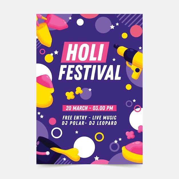 Cartel de fiesta de holi con puntos vector gratuito