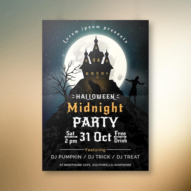 Cartel de fiesta de medianoche de halloween Vector Premium