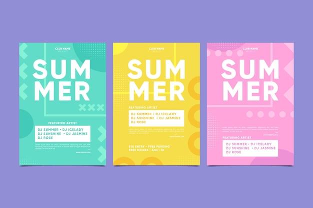 Cartel de fiesta mínima de verano vector gratuito