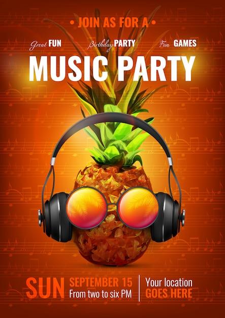 Cartel de fiesta de musica vector gratuito