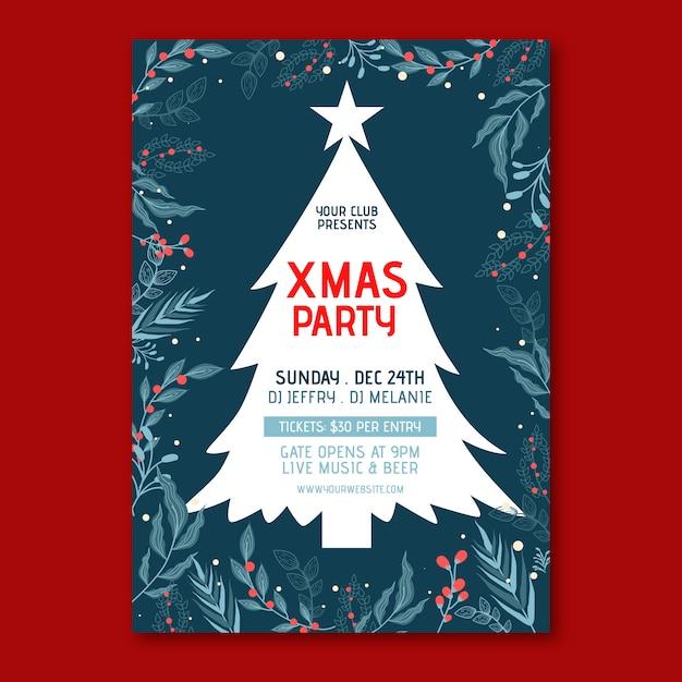 Cartel de fiesta de navidad de plantilla de diseño plano vector gratuito
