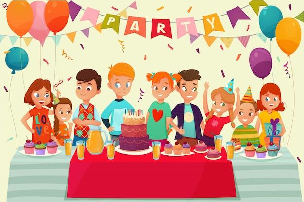 Cartel de fiesta de niños vector gratuito