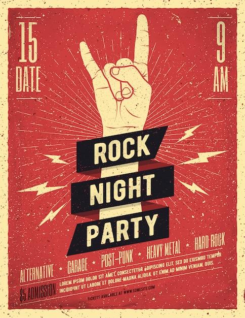 Cartel de fiesta de noche de rock. volantes. ilustración de estilo vintage. Vector Premium