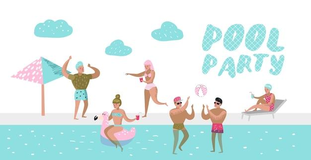 Cartel de fiesta en la piscina, pancarta. personajes gente nadando, relajándose, divirtiéndose en la piscina. vacaciones de verano en beach resort. Vector Premium