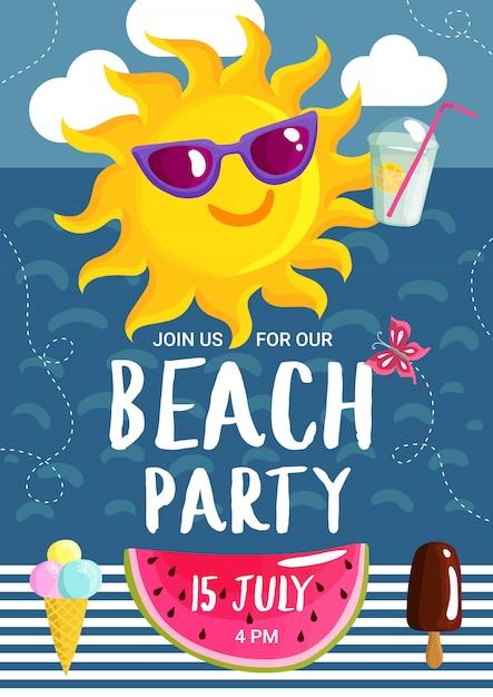 Cartel de fiesta de playa de verano vector gratuito