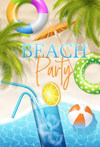 Cartel de fiesta en la playa Vector Premium