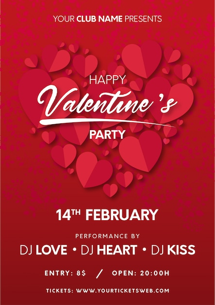Cartel fiesta de san valentín con corazones listos para imprimir. vector gratuito
