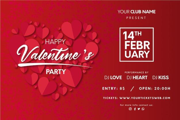 Cartel de fiesta de san valentín con corazones vector gratuito