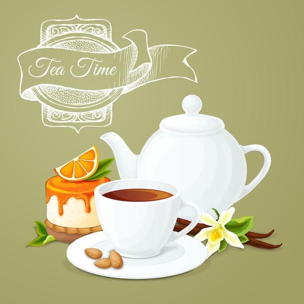 Cartel de la fiesta del té vector gratuito