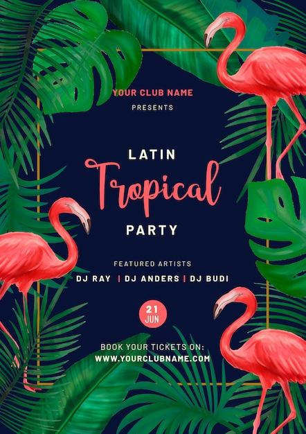 Cartel de fiesta tropical con flamencos rosados vector gratuito