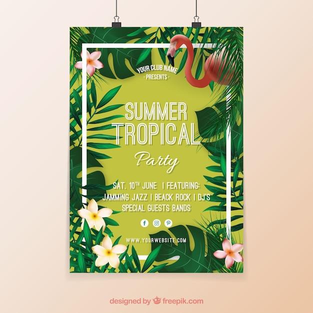 Cartel de fiesta tropical con flores y flamenco vector gratuito