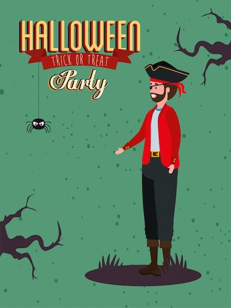 Cartel de fiesta con vampiro disfrazado de hombre vector gratuito
