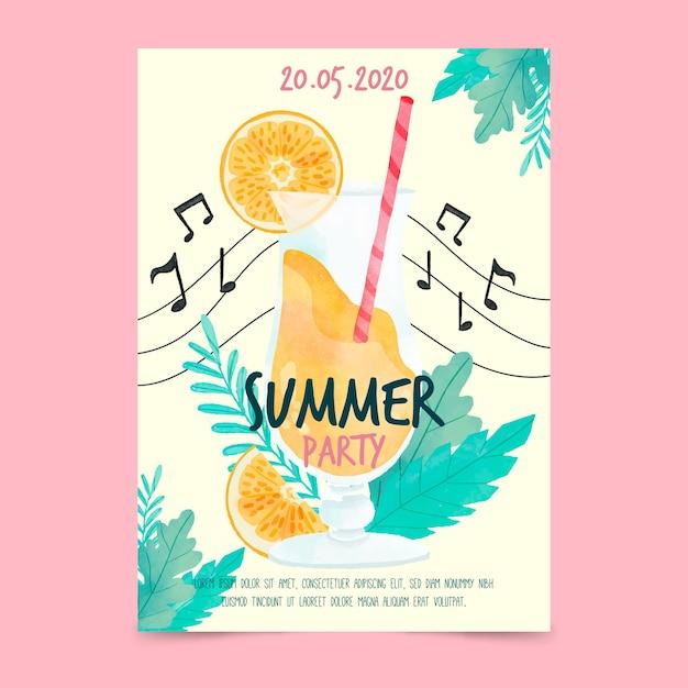 Cartel de fiesta de verano de acuarela y notas musicales vector gratuito