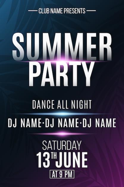 Cartel de fiesta de verano con efecto de luz de neón. dj y nombre del club. Vector Premium