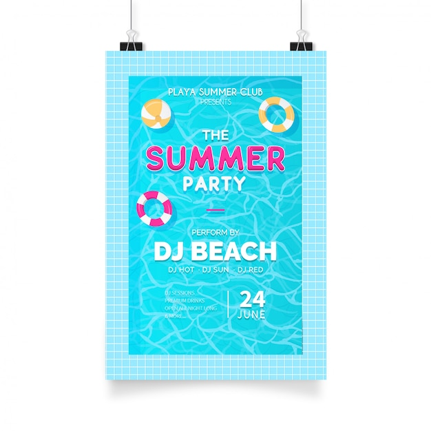 Cartel fiesta de verano con piscina. vector gratuito