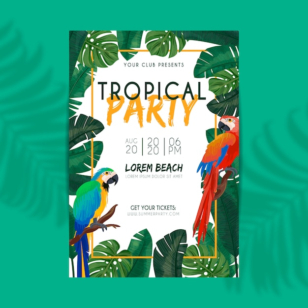 Cartel de fiesta de verano tropical vector gratuito