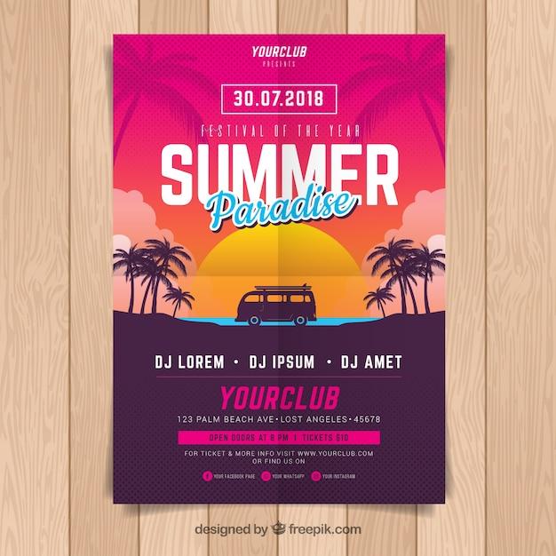 Cartel de fiesta de verano vector gratuito