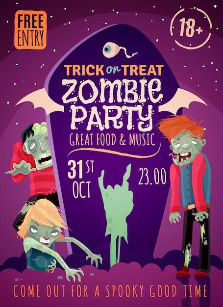 Cartel fiesta zombie vector gratuito
