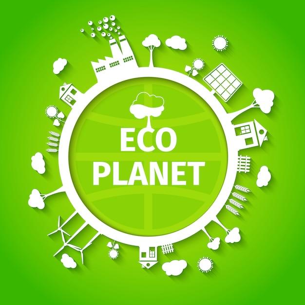 Cartel de fondo eco planeta vector gratuito