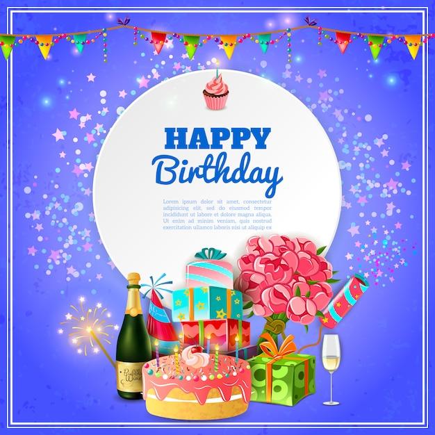 Cartel de fondo de fiesta feliz cumpleaños vector gratuito
