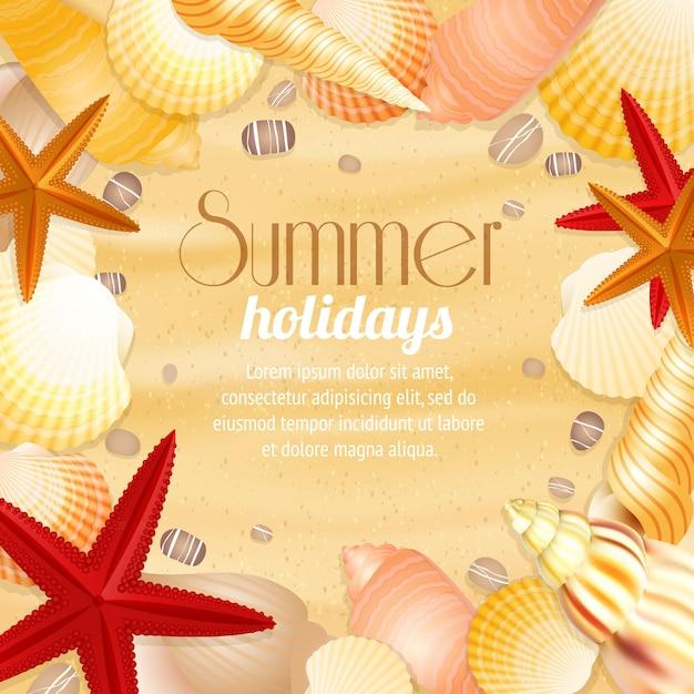 Cartel del fondo del viaje de las vacaciones de las vacaciones de verano con las conchas marinas y las estrellas de mar de la arena de la playa vector gratuito