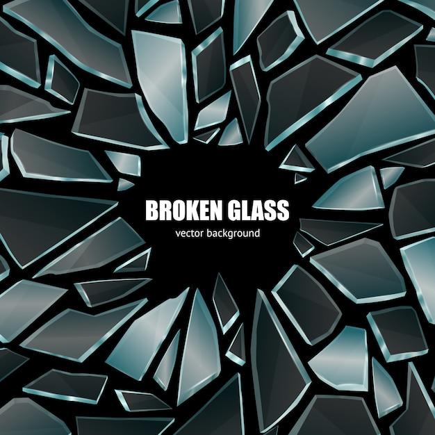 Cartel de fondo de vidrio negro roto vector gratuito