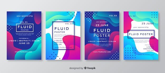 Cartel con formas fluidas vector gratuito