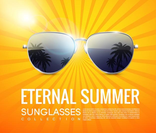 Cartel de gafas de sol de aviador de moda realista vector gratuito