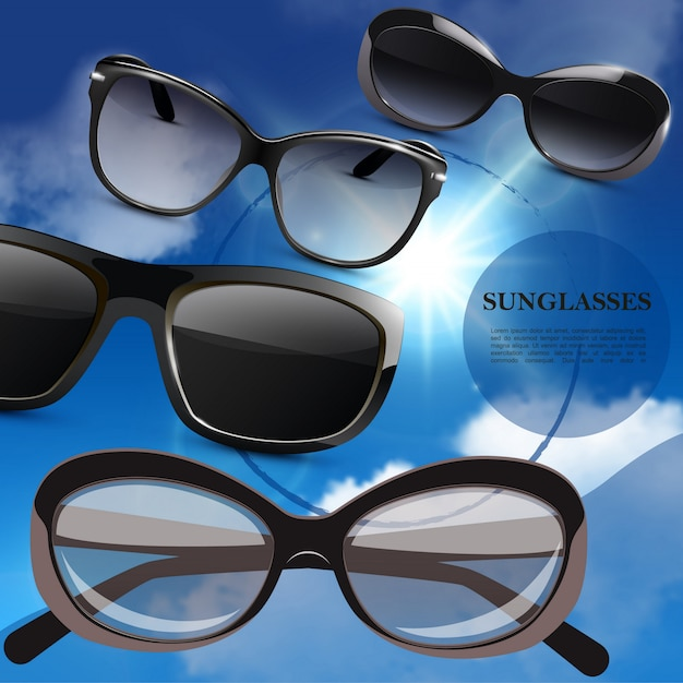 Cartel de gafas de sol con estilo moderno realista con anteojos de moda sobre fondo de cielo azul vector gratuito