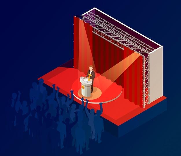 Cartel ganador del premio musical cartel isométrico vector gratuito