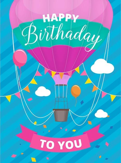 Cartel de globos de aire. cartel de invitación de fiesta de cumpleaños con globo de aire de color con cartel de cesta Vector Premium