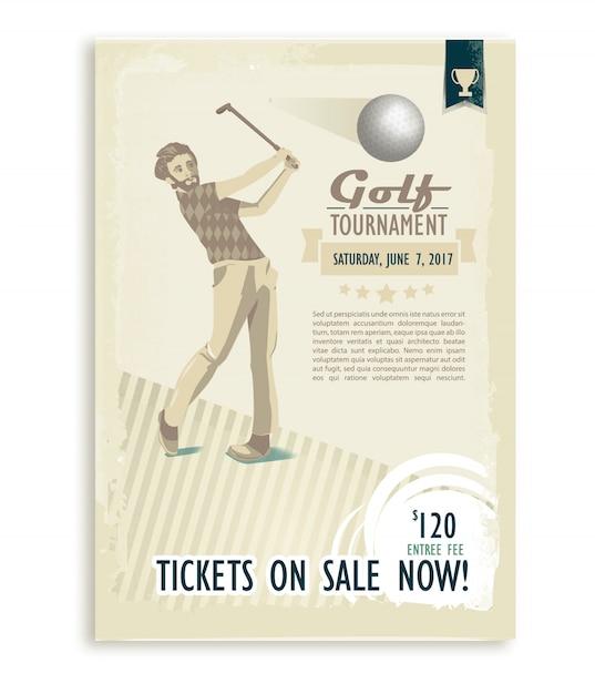 Cartel de golf retro o volante con un jugador de golf Vector Premium